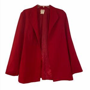 Liz Baker open deep red fitted lined blazer 16